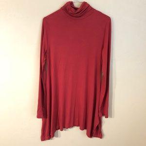 Soft Surroundings Brick Red Mock Neck Dress